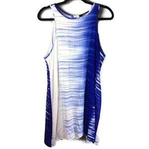 Lulu's Brushed Print Keyhole Sleeveless Blue Dress